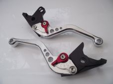 KTM 990 Supermoto (08-12), CNC levers set short silver & red adjusters B33/C31